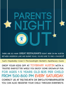 Parents' Night Out! 5:00-8:00, $35 per child