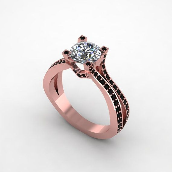 14k rose gold hand made  black diamond engagement ring,wedding ring style 75RGBLM