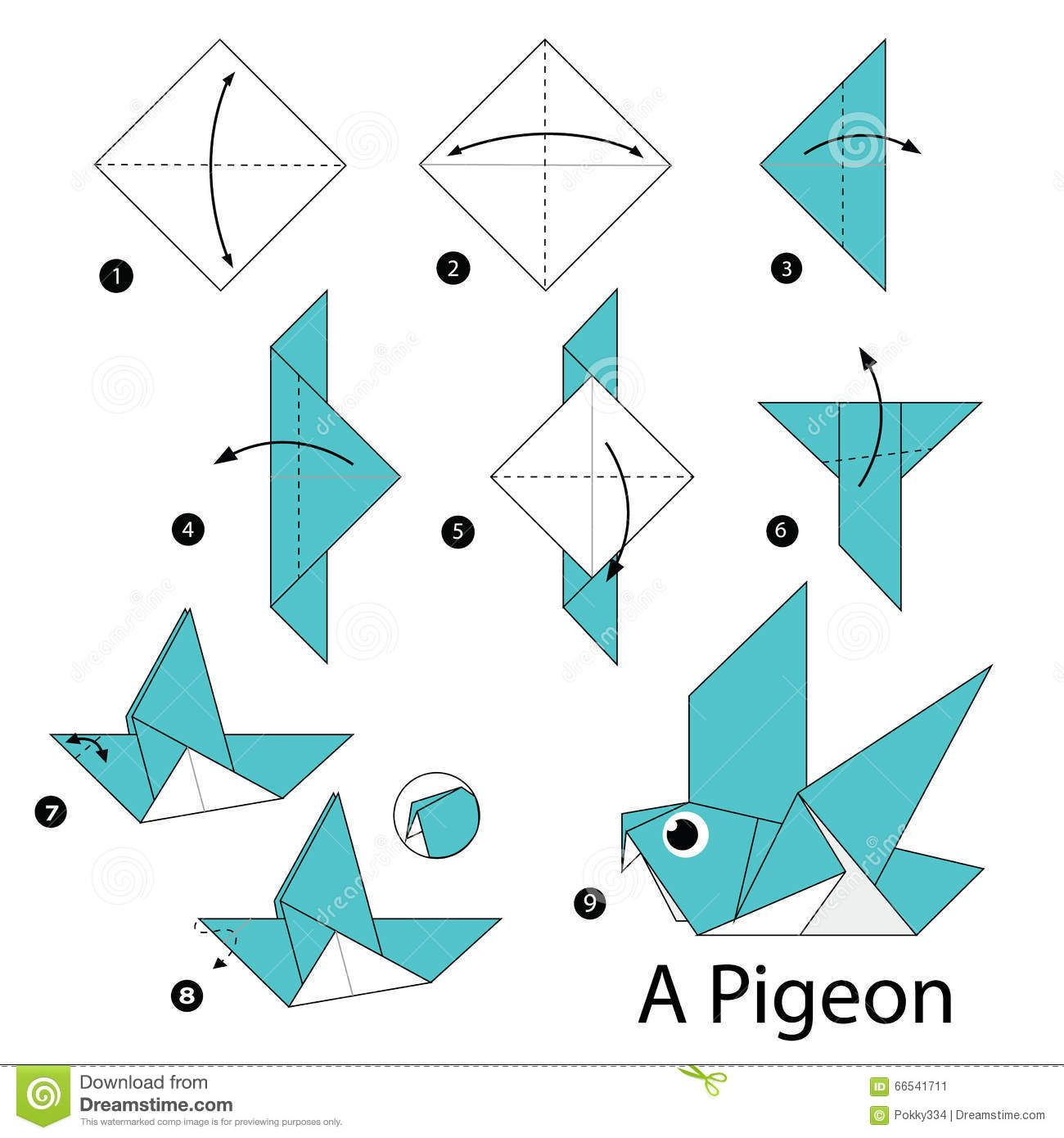 Step by step instructions how to make origami a bird for Origami swan easy step by step
