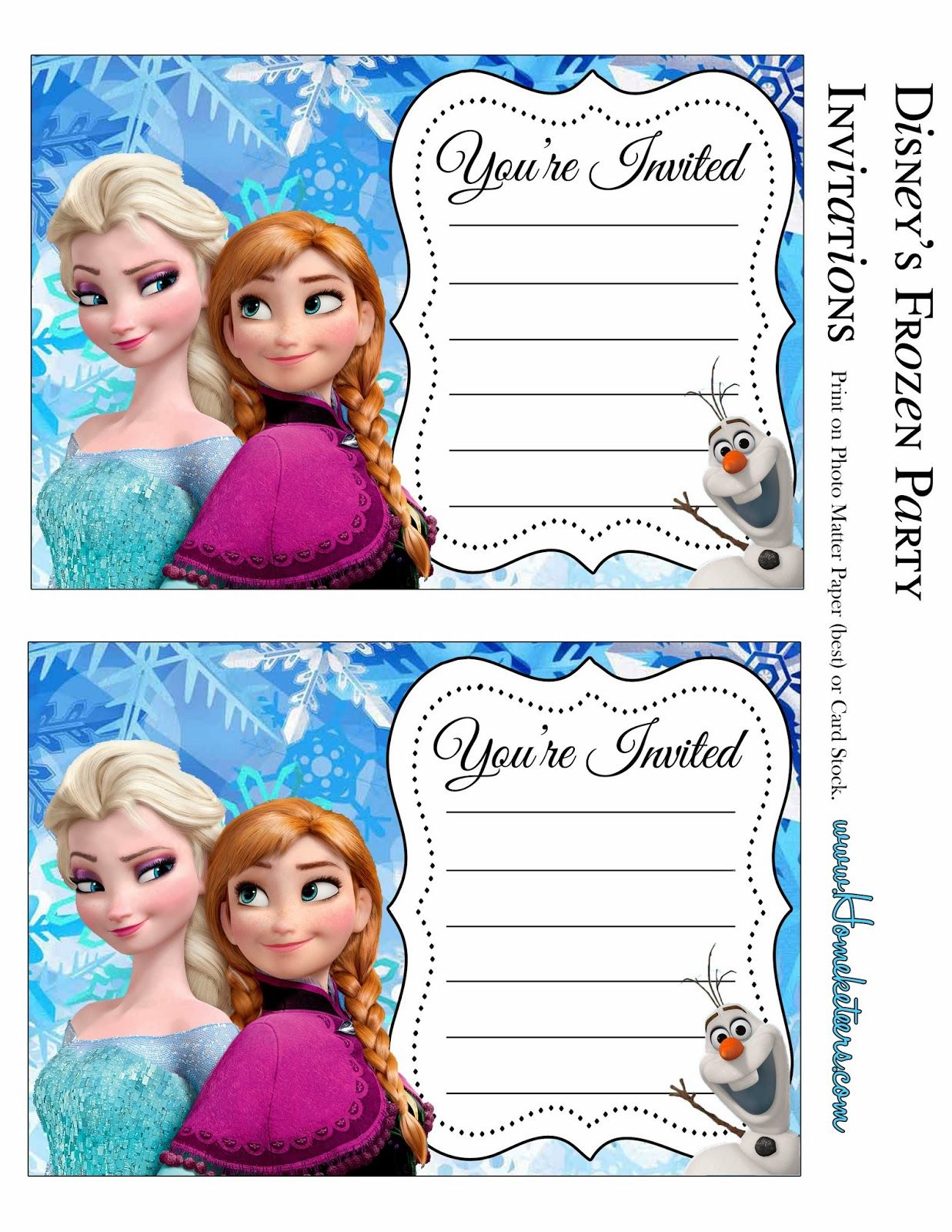It's just a photo of Revered Free Printable Frozen Invitation Templates
