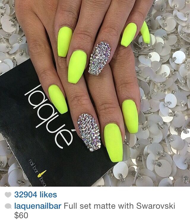 Lime Green Nails Love Coffin Shape Nails Green Nails Neon Nail