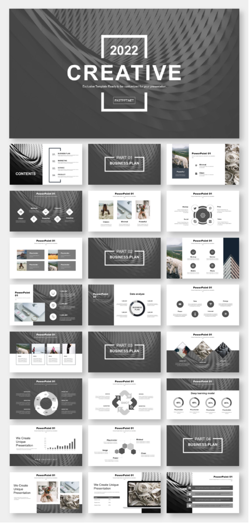 Black White Simple Business Report PowerPoint Template
