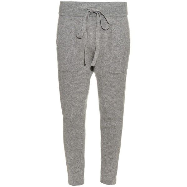 Haider Ackermann Wool and cashmere-blend track pants (715 AUD) ❤ liked on Polyvore featuring pants, bottoms, light grey and haider ackermann