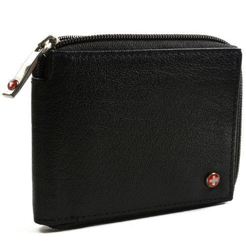 Alpine Swiss Zippered Bifold Men's Wallet with Deluxe Credit Card Flip Genuine Leather -Black | Jet.com