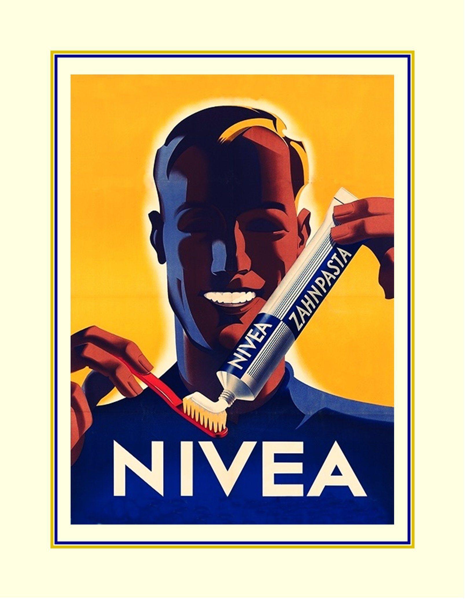 Gold nivea dental soap poster blue bathroom illustration wall art
