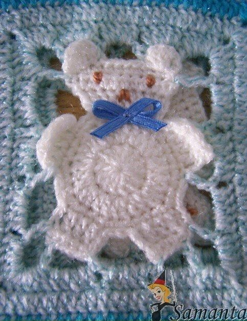 Receita de Crochê Infantil: Manta de square ursinho em crochê ...