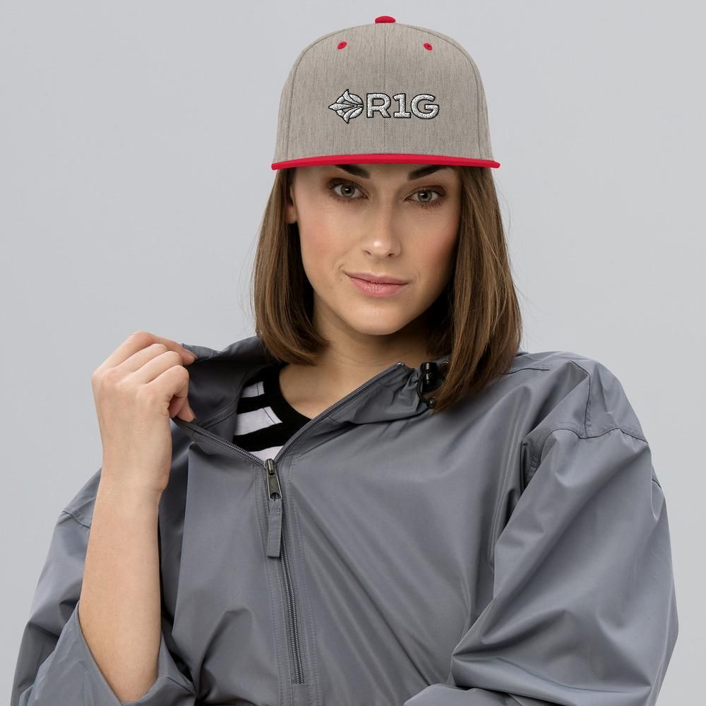 OR1G Snapback Hat - Heather Grey/ Red