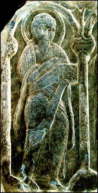 Anglo saxon carving relief of st mark