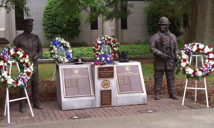 The Police And Fire Memorial Located In Front Of Newport News Va City Hall Newport News Va Newport News Fire Department