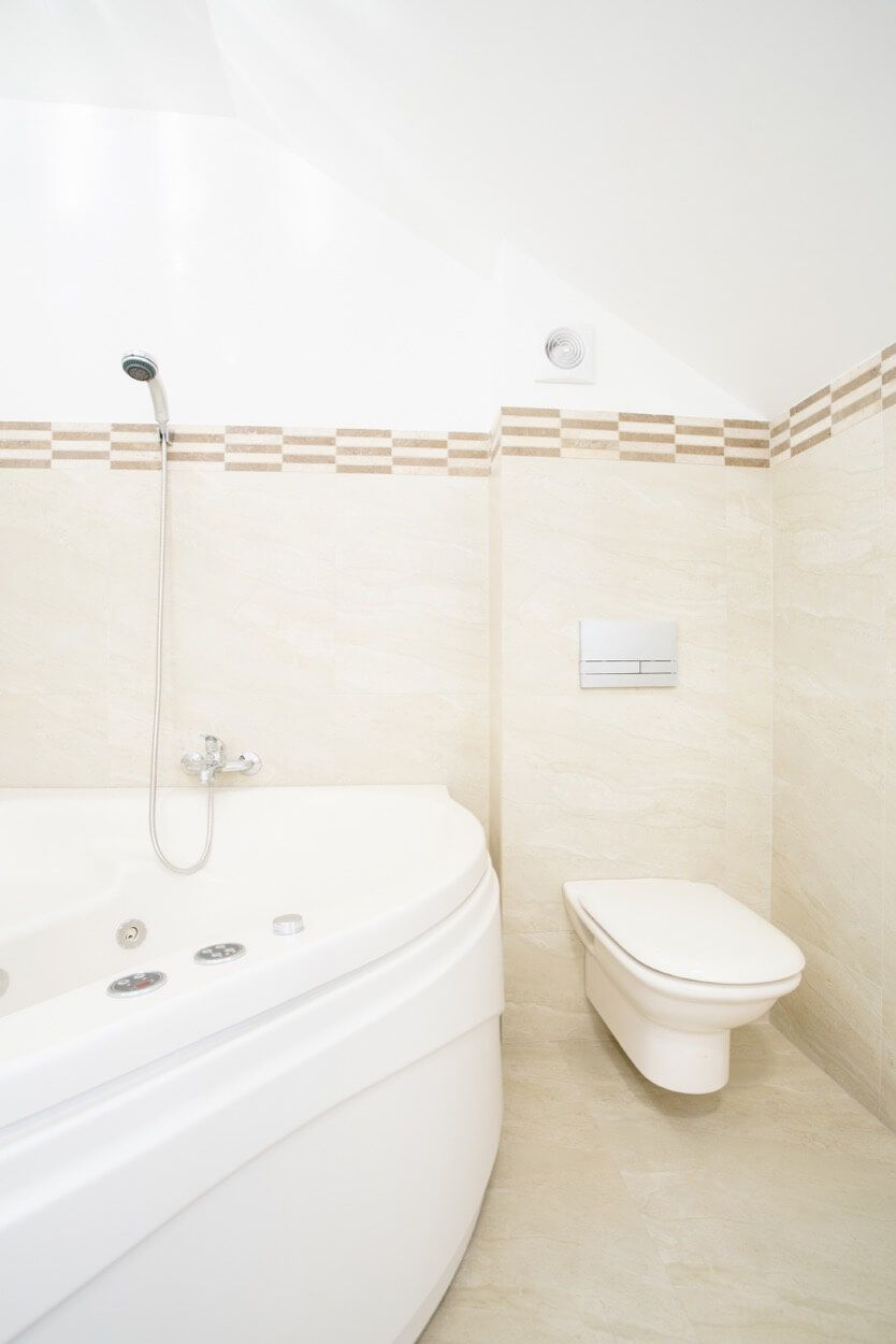 Brown And Beige Tile Detail Above Jetted Tub | Bathroom Ideas ...