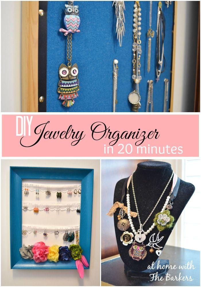 diy jewelry organizer in 20 minutes selbstgemachtes und kreativ. Black Bedroom Furniture Sets. Home Design Ideas