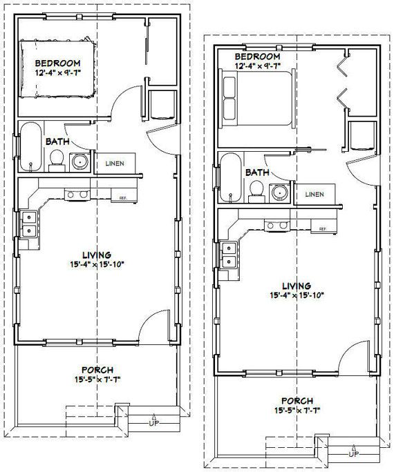 Two Story Tiny House Plan: 16x32 Tiny Houses 511 Sqft PDF Floor By