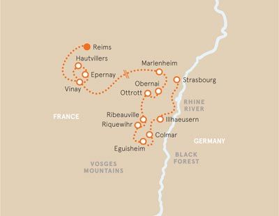 Champagne and Alsace Bike Tour Map Bucket List France Pinterest