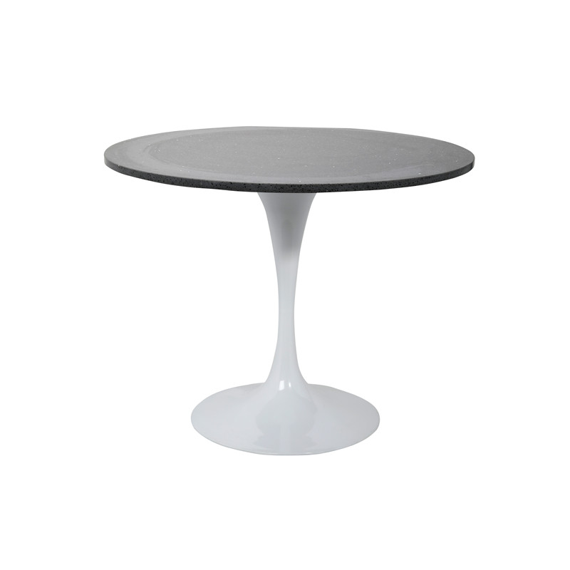 Dt028 I Round Crystal Black Quartz Table Top With Metal Base