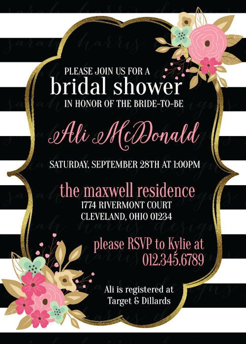 Floral Stripes Bridal Shower Invitation By
