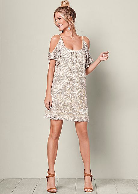 f00138b856 Ivory Multi Cold Shoulder Lace Dress