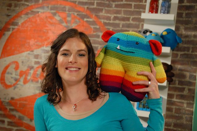 Ravelry: Rainbow Mr. Toothy pattern by Stacey Trock. Not a free pattern, but I LOVE how huge he is :)
