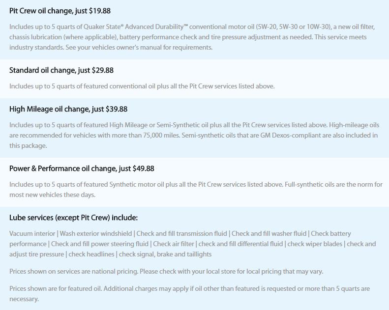 Walmart Oil Change Prices Oil Change Auto Center Pinterest Oil