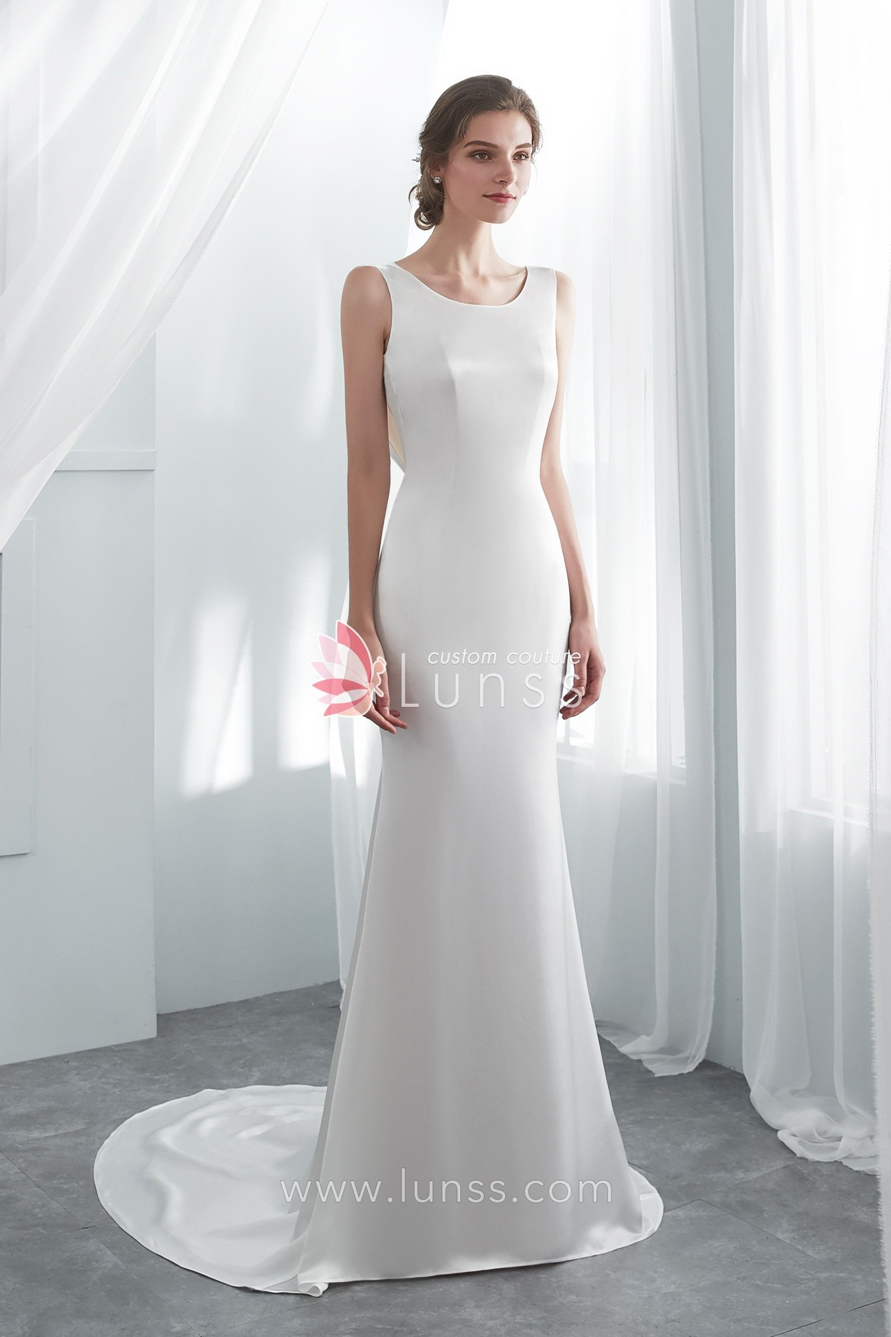 bba7b14985 Ivory Elegant Acetate Satin Beaded Lace Long Mermaid Wedding Gown with Cowl  Back