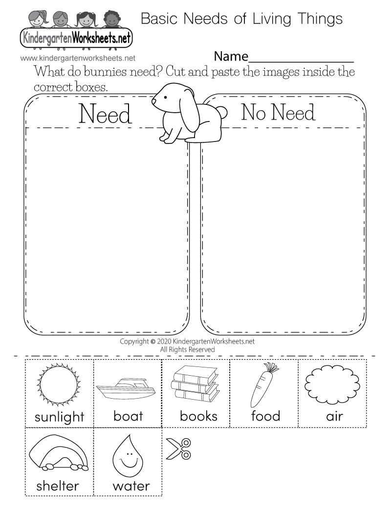Free Printable Basic Needs Of Living Things Worksheet For Kindergarten Science Worksheets Kindergarten Science Kindergarten Worksheets [ 1035 x 800 Pixel ]