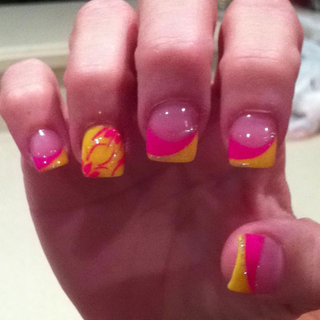 Hot Pink And Yellow Summer / Beach Nails