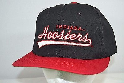 Indiana Hoosiers Vintage Black Red Baseball Cap Snap back  20bbe1b6075e