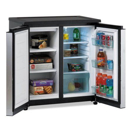 Avanti 5 5 Cf Side By Side Refrigerator Freezer Black Stainless Steel Walmart Com Mini Fridge With Freezer Undercounter Refrigerator Refrigerator Freezer