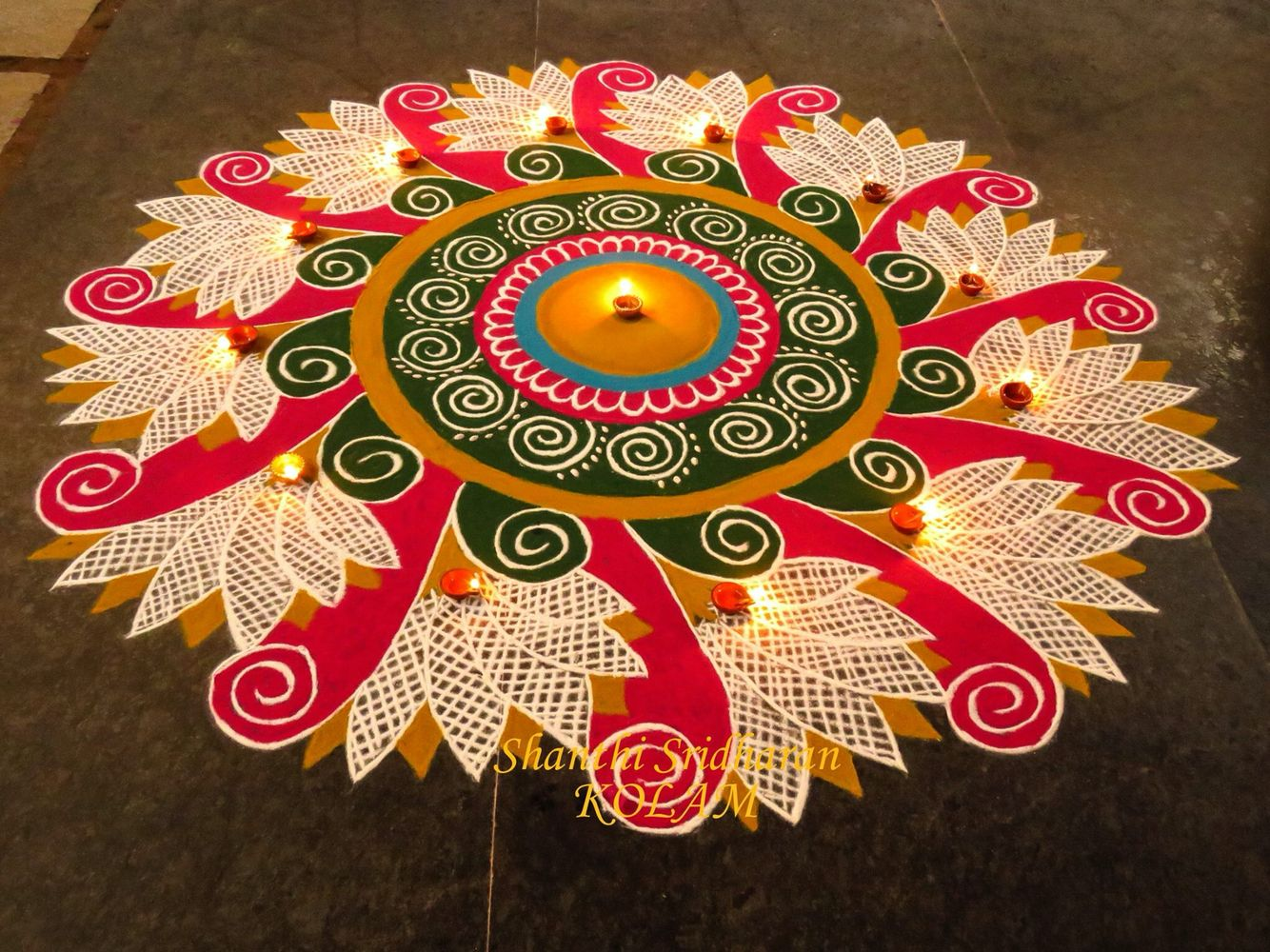 pink Kolam Rangoli designs for competition