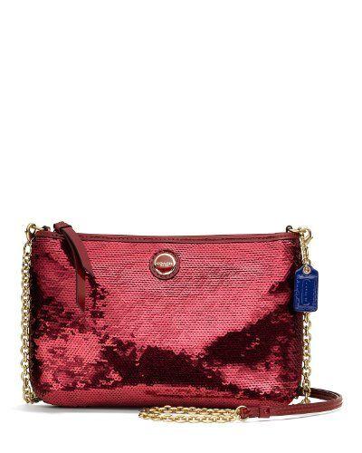Coach Poppy Red Crimson Sequins Crossbody Swingpack Bag 48422