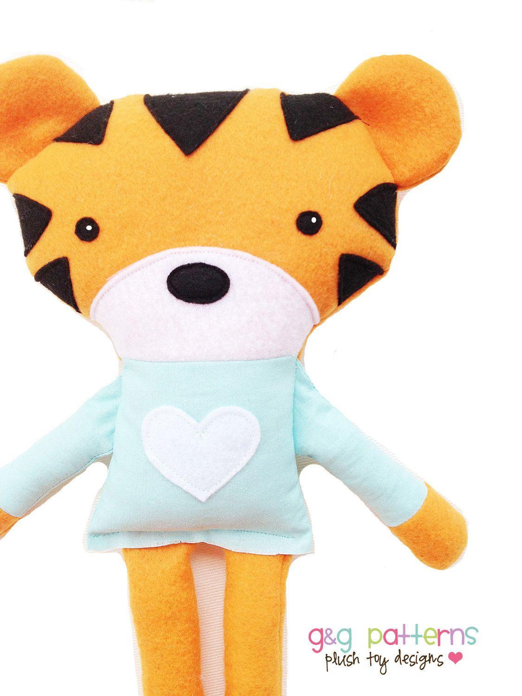 Toy Sewing Pattern - Tiger Sewing Pattern - Tiger Doll Softie - PDF ...