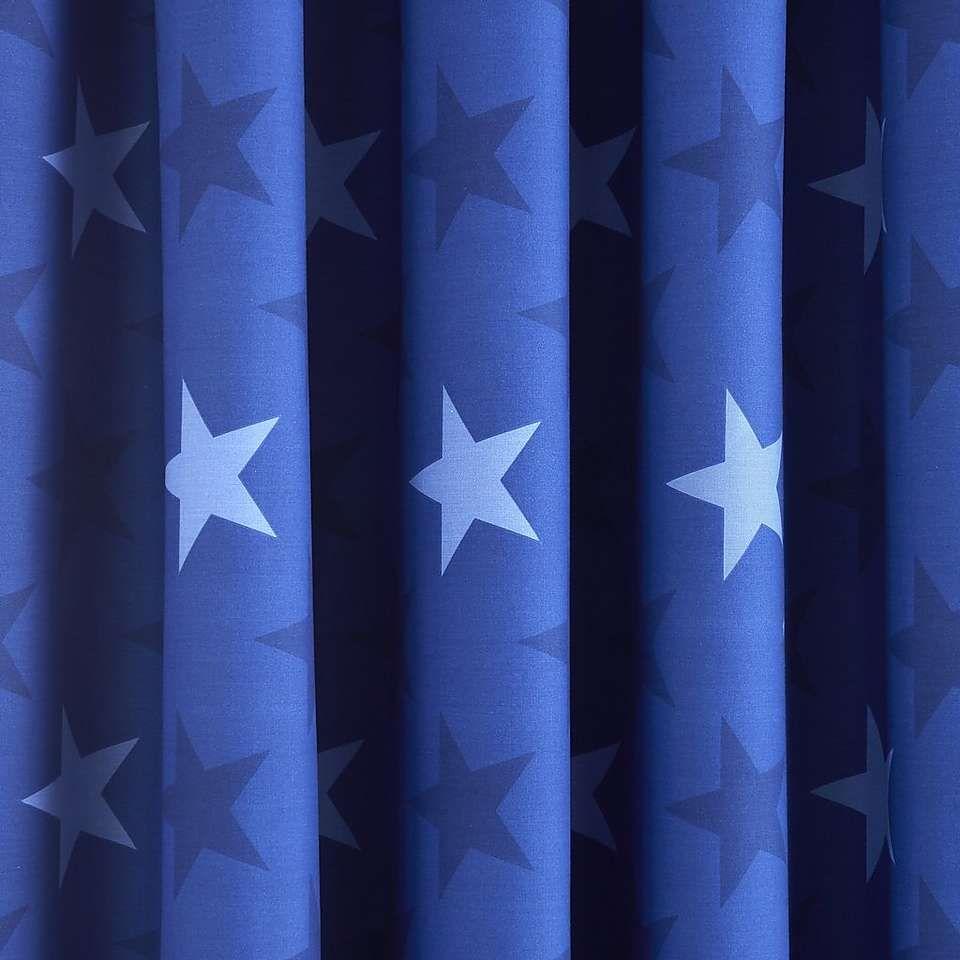 Star Navy Blackout Pencil Pleat Curtains