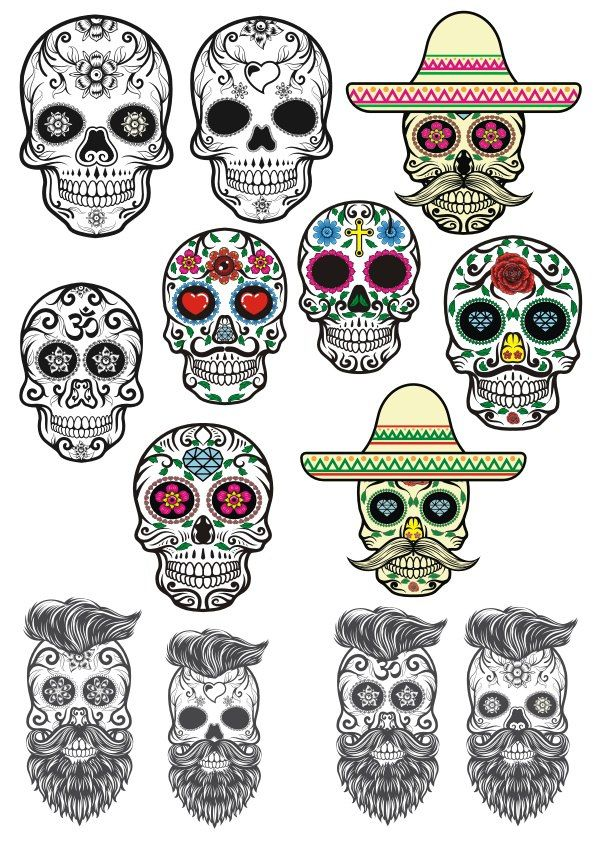 Photo of Sugar Skulls Tattoos Kostenlos Vector cdr Download – 3axis.co