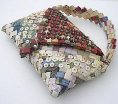 Bags & such made from wrappers (I will try making some from colorful magazine pages)