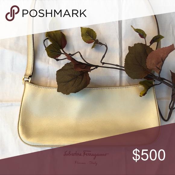 💟 Salvatore Ferragamo Small Shoulder Bag ECU Wardrobe staple for the successful woman, this gold lea...