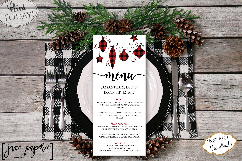 Instant Download Wedding Menu Template Christmas Dinner Printable Menu Holiday Floral Menu Red Plaid Menu Editable Menu Card 0661 Wedding Menu Template Winter Wedding Planning Wedding Menu