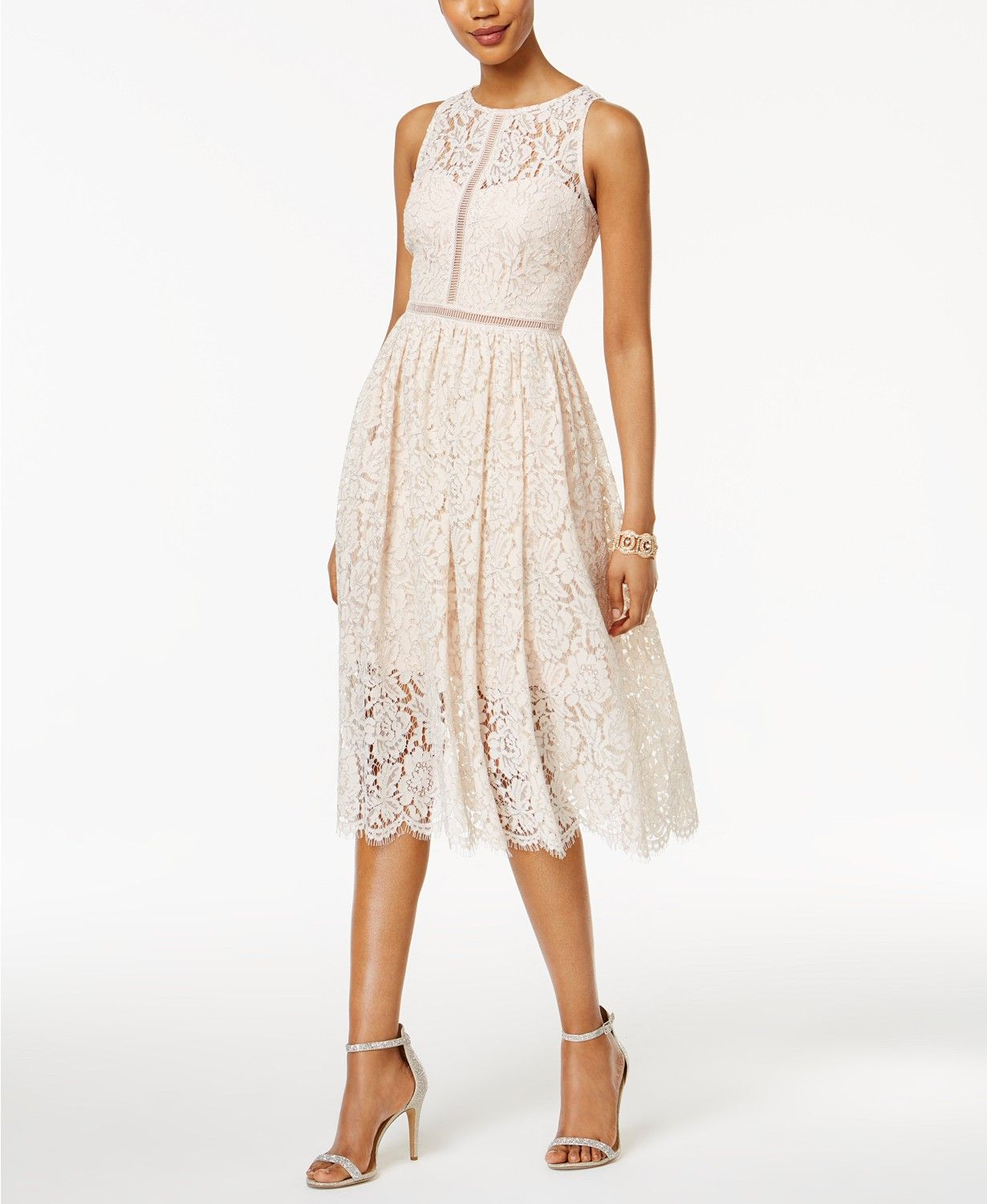 b555fb76b5 Adrianna Papell Lace Tea-Length Dress Women - Dresses - Macy's ...
