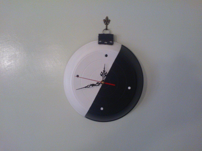 Orologio da Parete Artigianale bianco e nero 28Cm. di diametro. di affaryonline su Etsy