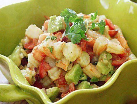 Lime Shrimp and Avocado Salad  Ingredients 1 lb jumbo cooked shrimp, peeled and deveined, chopped 1 medium tomato, diced 1 avocado, diced 1 jalapeno, seeds removed, diced fine 1/4 cup chopped red onion 2 limes, juice of 1 tsp olive oil 1 tbsp chopped cilantro salt and fresh pepper to taste  Directions In a small bowl combine red onion, lime juice, olive oil, pinch of salt and pepper. Let them marinate at least 5 minutes to mellow the flavor of the onion. by alba