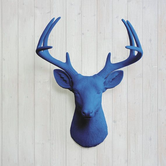 Wall Charmers Deer In Navy Blue Faux Head Fake By Wallcharmers 84 97 Nature Decor Fake Animals Easy Wall