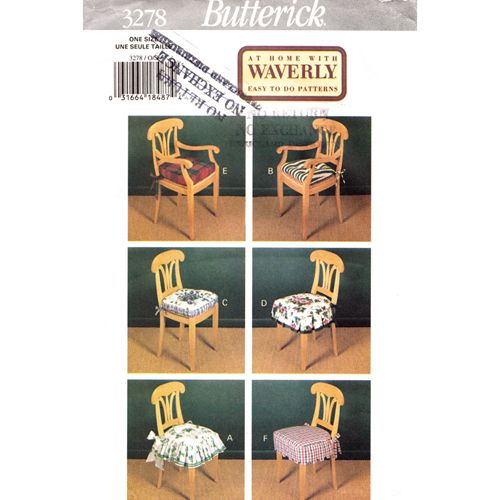 Butterick 3278 Chair Cushion Pads Sewing Pattern, At Home With Waverly Easy  To Do Patterns, Home, Kitchen, Dining Room Decor Uncut