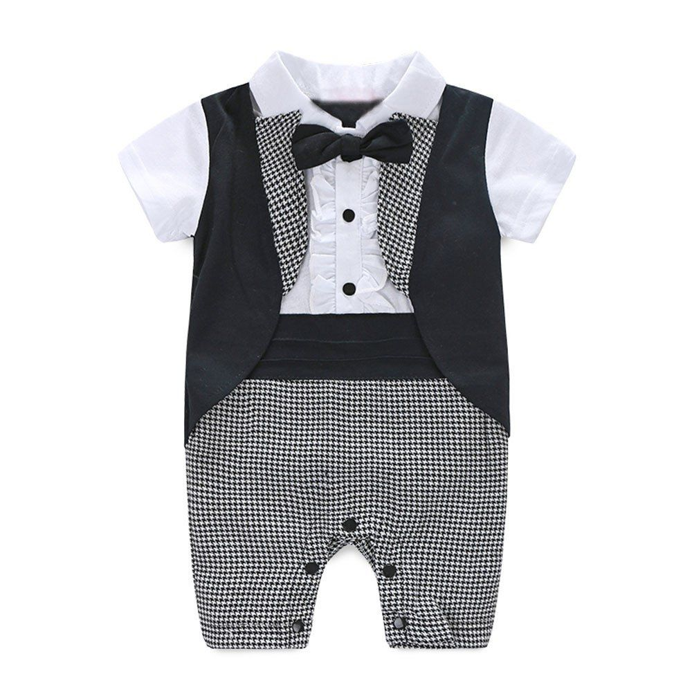 Newborn Baby Boy Romper Rompers Tuxedo All-in-one Suit Bowtie Bodysuit