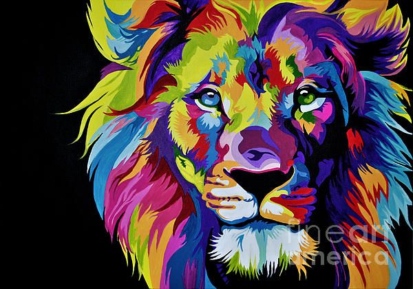 Large Framed Print Picture Poster Animal Abstract Colourful Face of a Lion