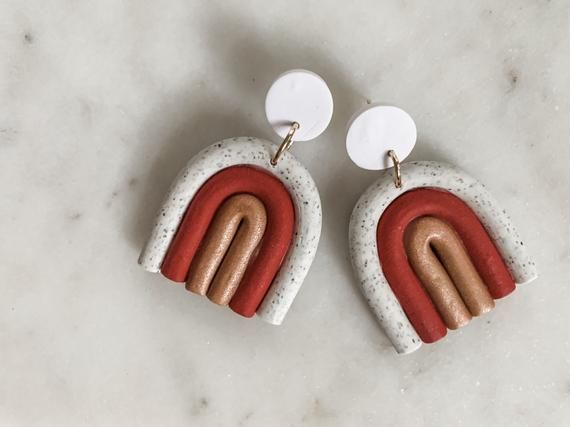 Photo of IRIS in granite, red, gold & white   Polymer Clay Earrings, Handmade Earrings, Modern Jewelry