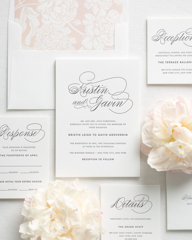 Elegant letterpress wedding invitations mrs klug pinterest