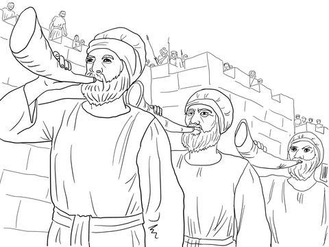 El ejército de Josué marcha alrededor de Jericó soplando cuernos ...