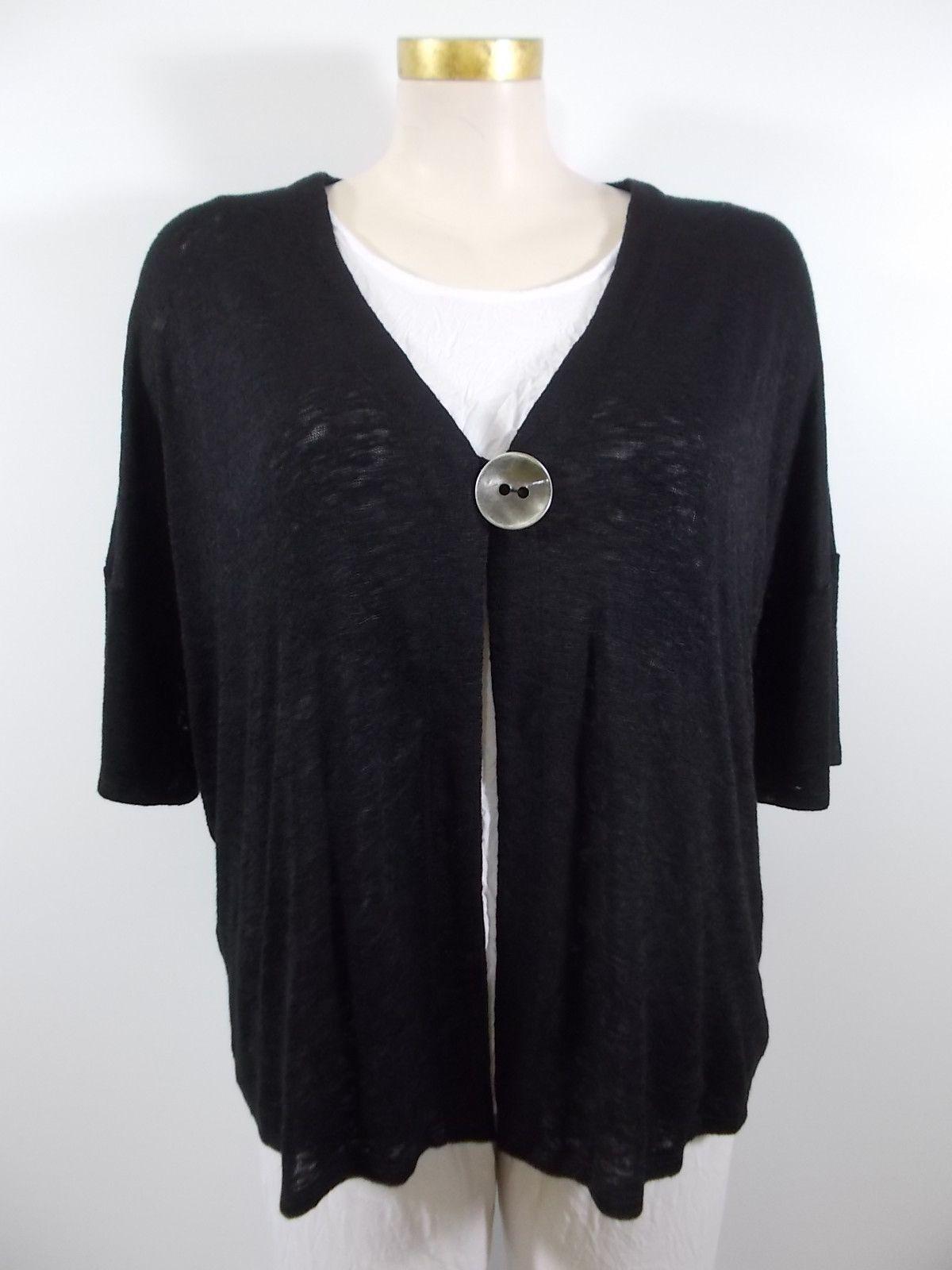 Chalet - Lightweight Slub Black Short Sleeve Alexa Button Cardigan ...
