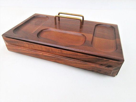 Vintage Mens Valet Box Wood With Drawer Tray Jewelry Caddy Organizer
