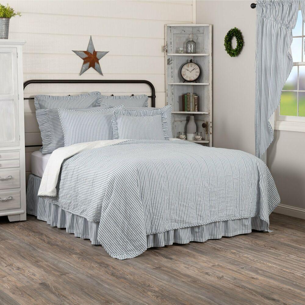 Sawyer Mill Blue Ticking Stripe Queen Quilt BEDDING