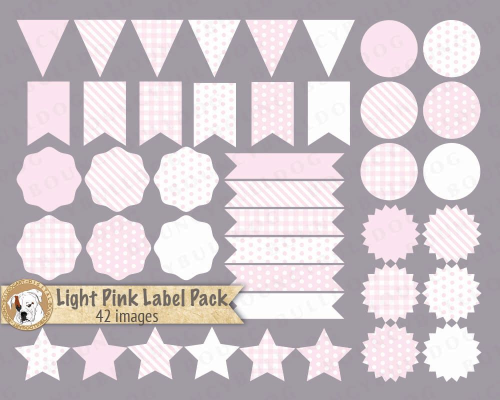 Pink label clipart vector baby shower clipart pennant flags pink ...
