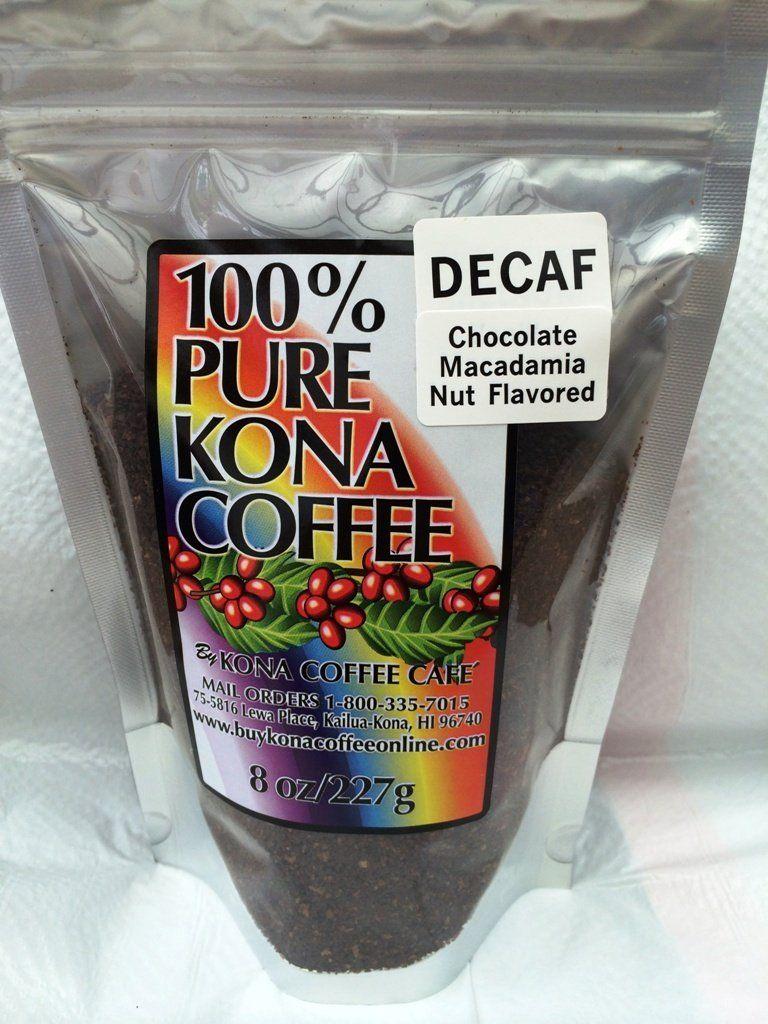 Decaf kona coffee ground chocolate macnut flavored 8oz